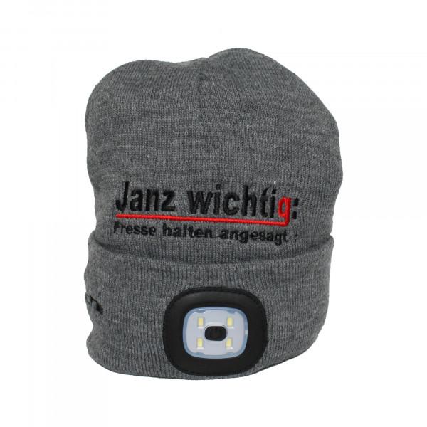 Strickmütze - Janz wichtig: Fresse halten angesagt! (inkl. 2 rechargeable LED-Lampen)