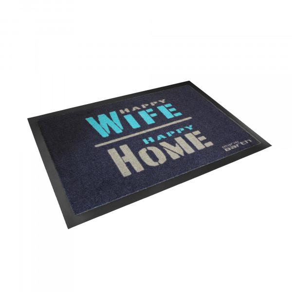 Fußmatte - Happy Wife Happy Home (mit Gummirand)