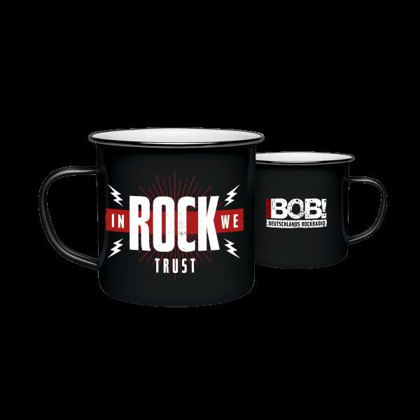 """RADIO BOB! Tasse Emaille - """"In Rock We Trust"""""""