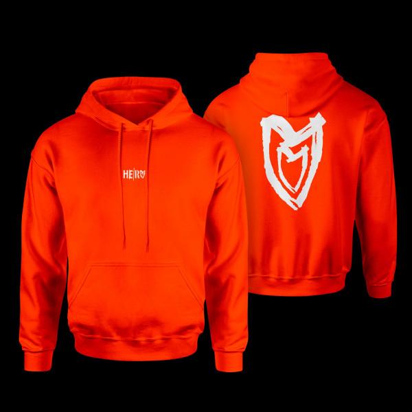 Hooded-Sweat - Heart, orange, loose cut