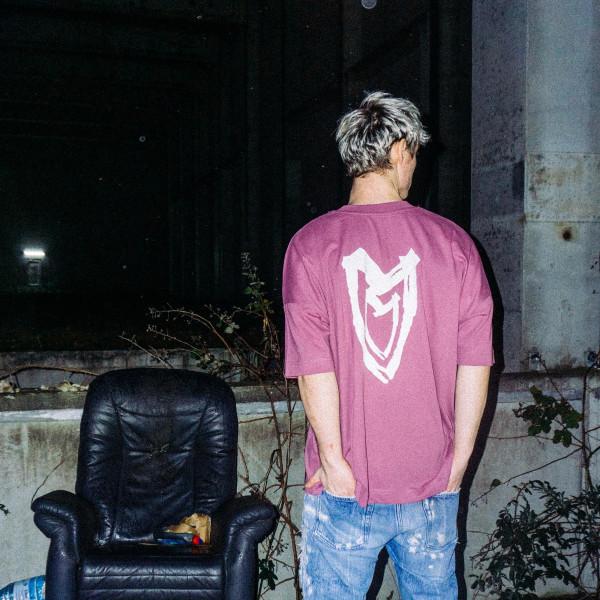 T-Shirt - Heart, mauve, oversized cut