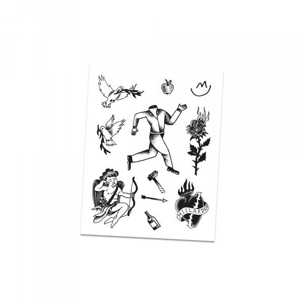 Tattoosheet (A4 Bogen mit 9 Abziehtattoos)