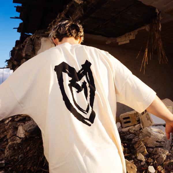 T-Shirt - Heart, natural raw, oversized cut