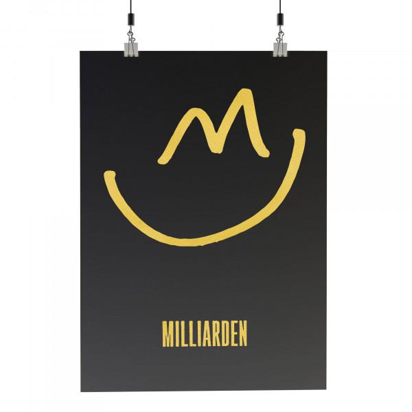 Siebdruckposter - Smile, black-gold (A3)